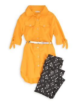 Girls Belted Shirt Dress with Leggings - 3608061950194