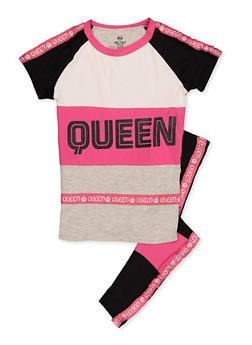 Girls 7-16 Queen Color Block Tee and Leggings Set - 3608063370012