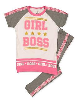 Girls 7-16 Girl Boss Glitter Tee with Leggings - 3608063370013