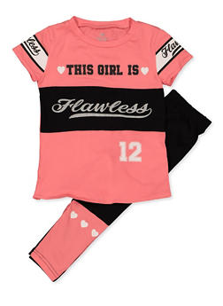Girls 6x-16 This Girl is Flawless Tee and Leggings Set - 3608063370014