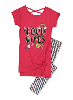 Girls 7-16 Good Vibes Tunic Tee with Striped Leggings - 3608063370016