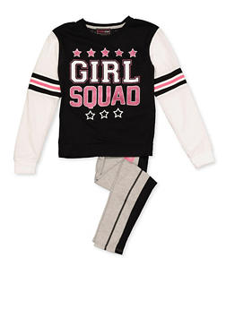 Girls 7-16 Glitter Graphic Top and Striped Detail Leggings Set - 3608073990010
