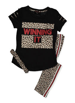 Girls 7-16 Graphic Tee with Leggings and Headband - 3608073990011