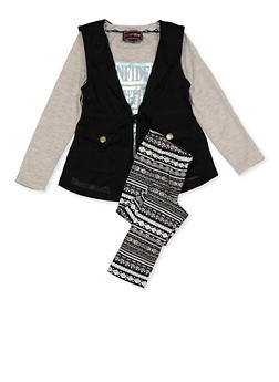 Girls 7-16 Genius Graphic Tee with Vest and Leggings - 3608073990015