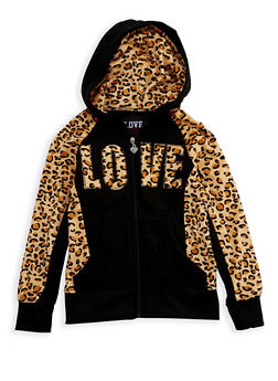 Girls 4-6x Zip Front Hoodie with Leopard Print Accent - 3611063400020