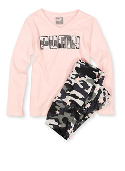 Girls 4-6x Puma Camo Graphic Tee and Leggings - 3611075230011