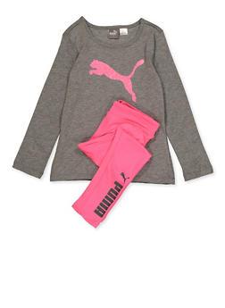 Girls 4-6x Puma Long Sleeve Tee and Leggings Set - 3611075230012