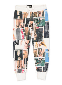 Girls 7-16 Magazine Print Quilted Joggers - 3613063400011