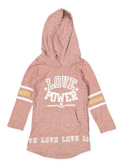 Girls 4-6x Love Power Sweatshirt Dress - 3614038340051