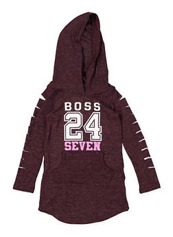 Girls 4-6x Boss Laser Cut Sleeve Sweatshirt Dress - 3614038340054