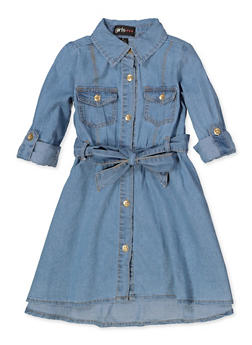 Girls 4-6x Button Front Denim Skater Dress - 3614038340065