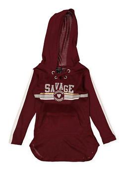 Girls 4-6x Savage Lace Up Sweatshirt Dress - 3614038340071