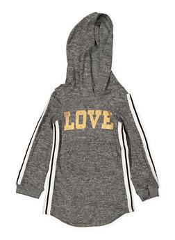 Girls 4-6x Love Tape Trim Sweatshirt Dress - 3614038340074