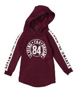 Girls 4-6x Graphic Hooded Sweatshirt Dress - 3614038340076