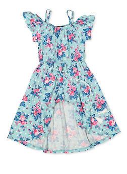 Girls 4-6x Floral Cold Shoulder Maxi Romper - 3614038340106