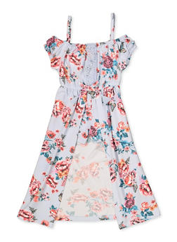 Girls 4-16 Floral Crochet Detail Cold Shoulder Maxi Romper - 3614038340107