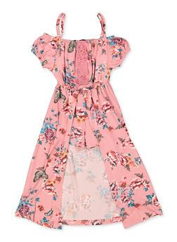 Girls 4-6x Floral Crochet Detail Cold Shoulder Maxi Romper - 3614038340107
