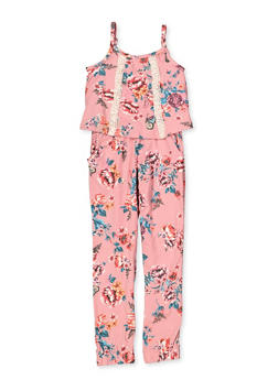Girls 4-6x Floral Overlay Soft Knit Jumpsuit - 3614038340108