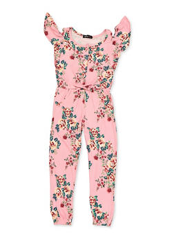 Girls 4-6x Cold Shoulder Floral Jumpsuit - 3614038340110