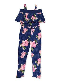 Girls 4-6x Floral Polka Dot Soft Knit Jumpsuit - 3614038340111