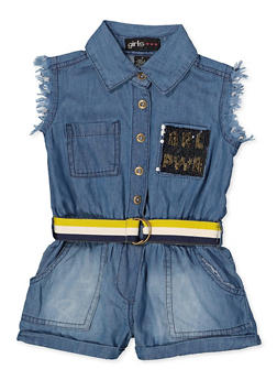 Girls 4-6x Reversible Sequin GRL PWR Denim Romper - 3614038340112