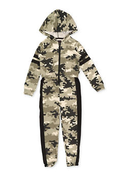 Girls 4-6x Camo Hooded Jumpsuit - 3614038340121