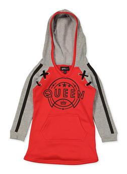 Girls 4-6x Queen Hooded Sweatshirt Dress - 3614038340124