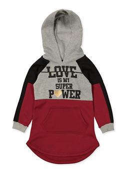 Girls 4-6x Love Is My Super Power Sweatshirt Dress - 3614038340129