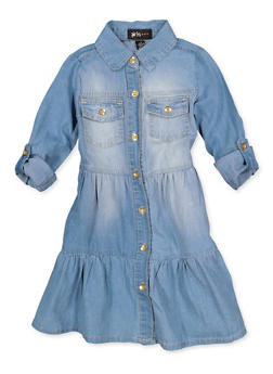 Girls 4-6x Denim Button Front Skater Dress - 3614038340135