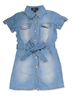 Girls 4-6x Denim Belted Skater Dress - 3614038340137