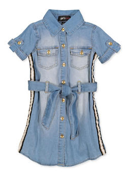 Girls 4-6x Belted Short Sleeve Denim Shirt Dress - 3614038340138