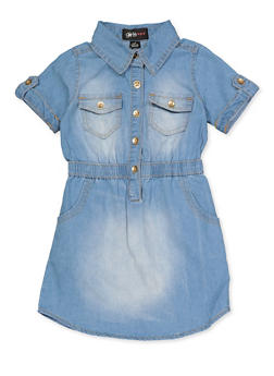 Girls 4-6x Two Pocket Denim Skater Dress - 3614038340139