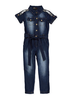 Girls 4-6x Love Tape Denim Jumpsuit - 3614038340141