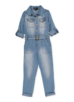 Girls 4-6x Denim Button Front Jumpsuit - 3614038340143