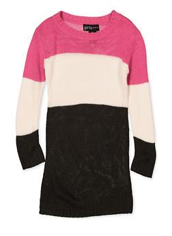 Girls 4-6x Color Block Sweater Dress - 3614038340152