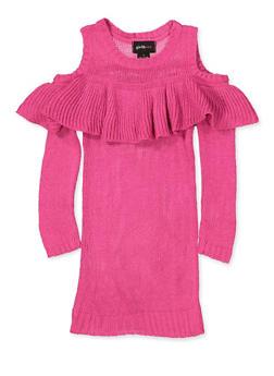 Girls 4-6x Cold Shoulder Sweater Dress - 3614038340154