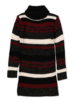Girls 4-6x Striped Mock Neck Sweater Dress - 3614038340155