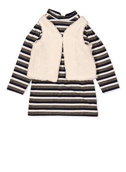Girls 4-6x Striped Shift Dress with Sherpa Vest - 3614038340160