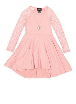 Girls 4-6x Lace Sleeve Skater Dress - 3614051060010