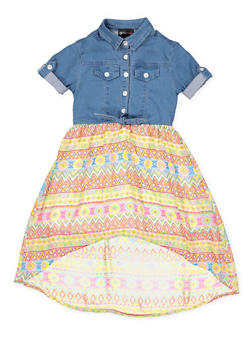 Girls 4-6x Denim and Printed High Low Dress - 3614051060015