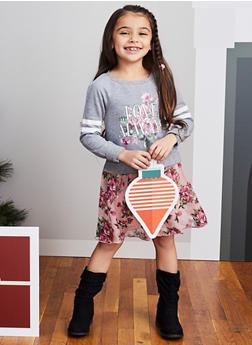 Girls 4-6x Floral Love Graphic Sweatshirt Dress - 3614051060085