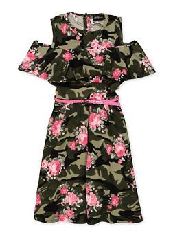 Girls 4-6x Printed Cold Shoulder Skater Dress - OLIVE - 3614051060092