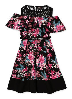Girls 4-6x Cold Shoulder Floral Skater Dress - 3614051060093