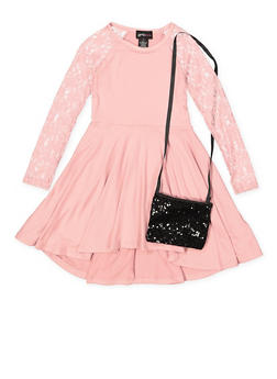 Girls 4-6x Lace Sleeve High Low Skater Dress - 3614051060156