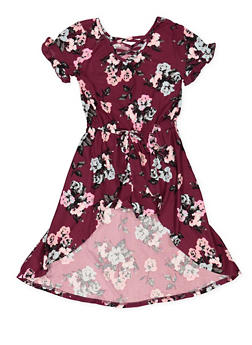 Girls 4-6x Floral High Low Romper - 3614061950001