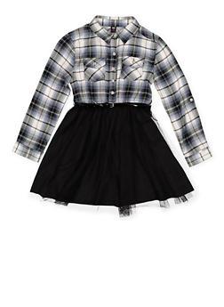 Girls 7-16 Plaid and Tulle Skater Dress - 3615023130010