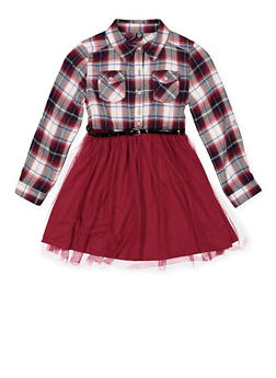 Girls 7-16 Plaid and Tulle Skater Dress - 3615023130010