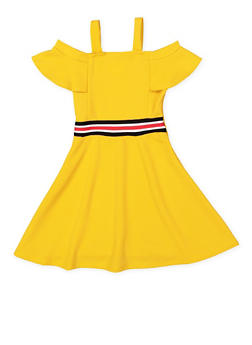 Girls 7-16 Ribbed Knit Trim Skater Dress - 3615029890015