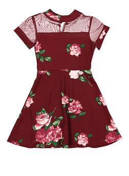Girls 7-16 Floral Mesh Yoke Skater Dress - 3615029890016