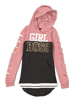 Girls 7-16 Girl Boss Graphic Sweatshirt Dress - 3615038340049
